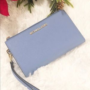Michael Kors French Blue Double Zip Wristlet